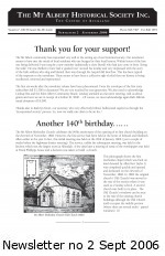 MAHS Newsletter no 2 Sept 2006