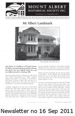 MAHS Newsletter no 16 Sept 2011